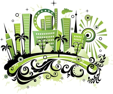 city background curves ornament green black design