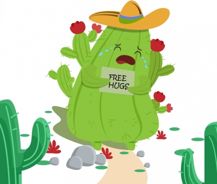 green cactus icon funny stylized design