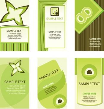 name card templates vertical design modern green ornament