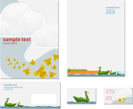 brochure card templates species origami sketch bright modern