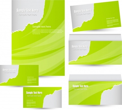 card brochure templates modern bright green abstract plain