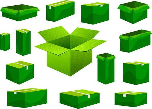 green carton box collection