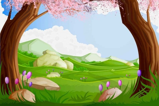 Green Cartoon Landscapes Vector Background