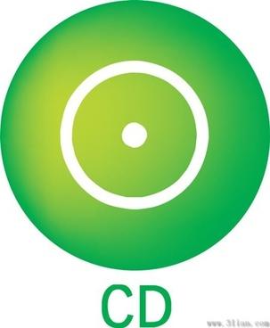 green cd icon vector