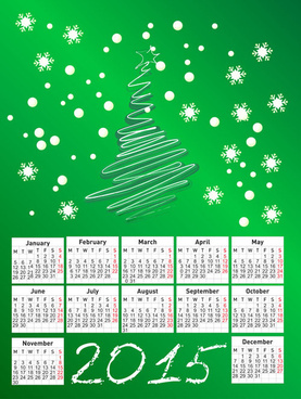 green christmas style15 calendar vector