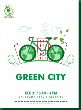 green city banner bicycle icon hand drawn style