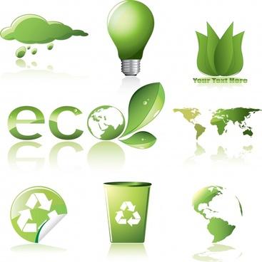ecology design elements modern green symbols decor