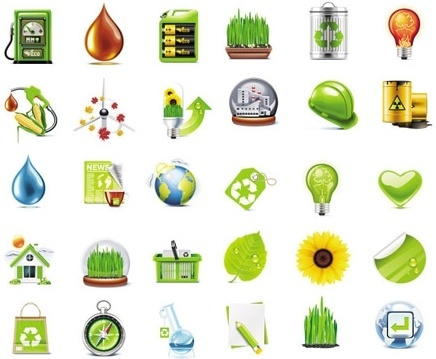 eco logo icons sets various colored symbols types