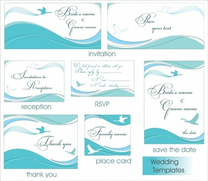 card templates blue white design classical curves ornament