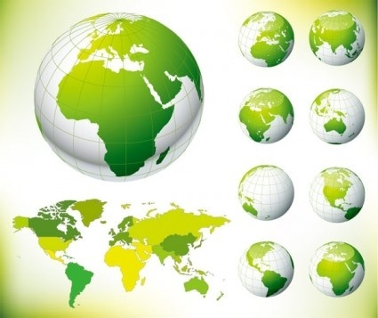 green earth and the world map vector