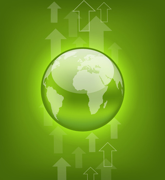 green earth with arrow background vector