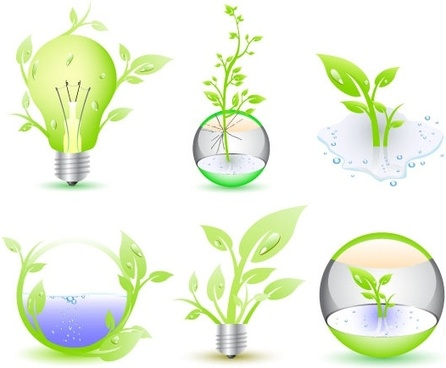 eco icon collection illustration with green trees bulbs