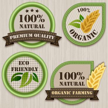 green eco labels vector set