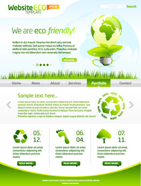 green eco website template design vector