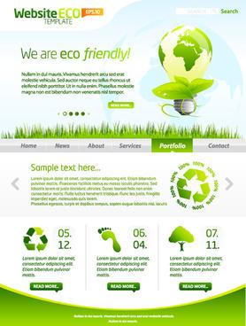 green eco website template design vector