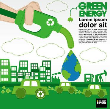 green ecology city concept design vector