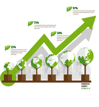 green ecology earth infographics vector