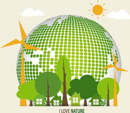 green ecology earth poster design vector