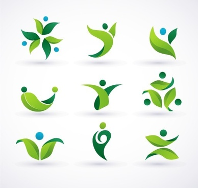 green ecology logos creative design