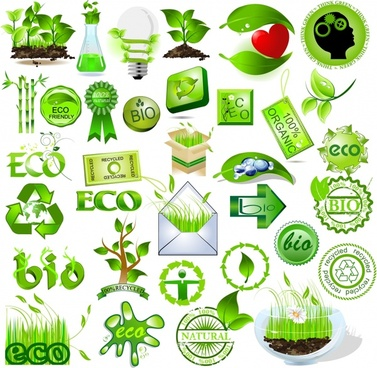 bio design elements green symbols sketch