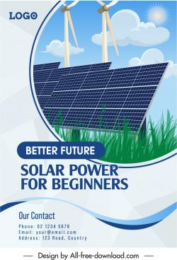 green energy advertising poster windmill solar system sketch