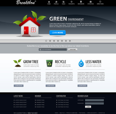 green environment style website template vector