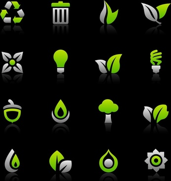 eco design elements green flat shapes