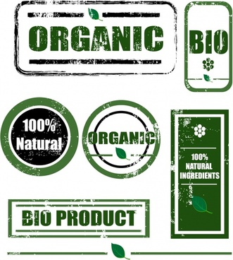 organic products stamps templates green retro design