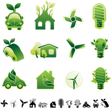 eco design elements green car house lightbulb windmill