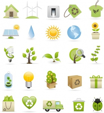ecology design elements classical icons colored 3d design