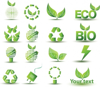 ecology tags icons modern green symbols sketch
