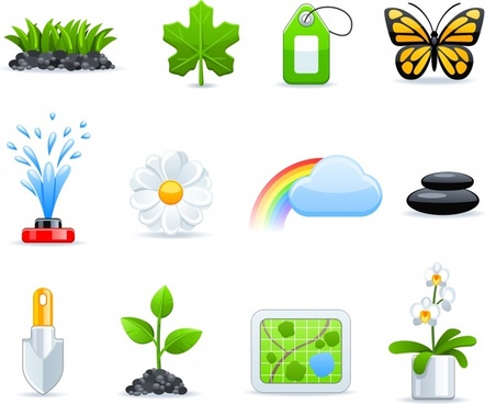 green environmental icons vector