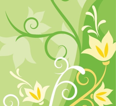 Green Floral Abstract Background Vector Background