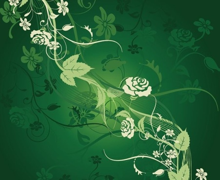 rose flowers painting dark green design