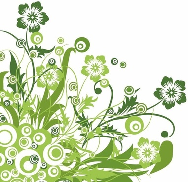 Green Floral Design Vector Graphic
