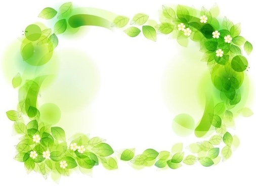 Green Floral Frame Vector Illustration
