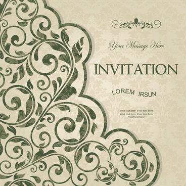 green floral invitation cards vector set