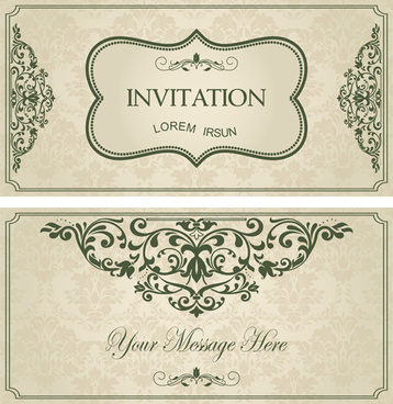 green floral invitation cards vector set