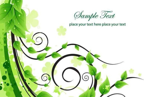 Green Floral Swirl Vector Background