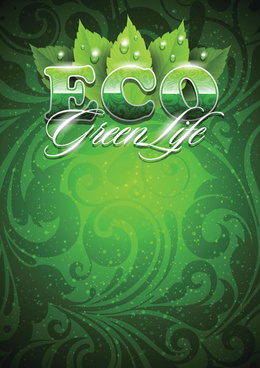 green floral with eco background vector
