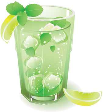 green fruit juice with ice vector