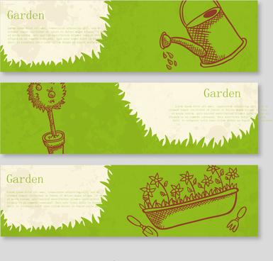 green garden banner vector