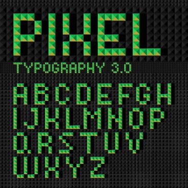 green geometric shapes alphabet vector