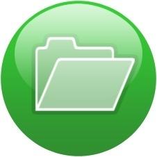 Green globe open folder