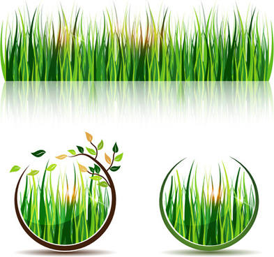 green grass eco elements vector