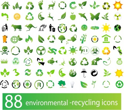 eco design elements green symbols flat design