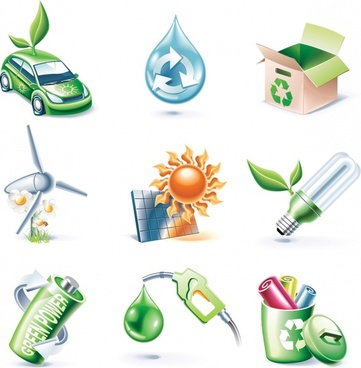 ecological icons colored modern 3d design