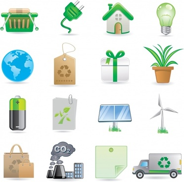 ecology icons environmental symbols sketch colored modern design