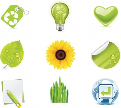 ecological icons modern shiny colored symbols sketch