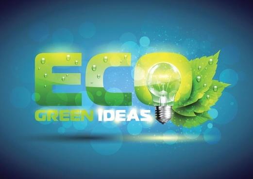 green ideas eco template vector